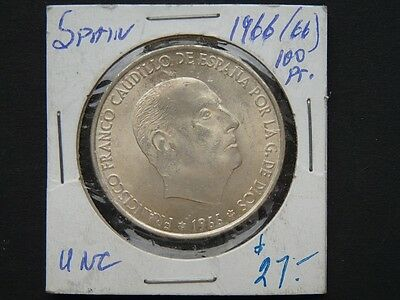 VINTAGE COIN SPAIN 1966 100 pesetas silver  HIGH QUALITY    W84