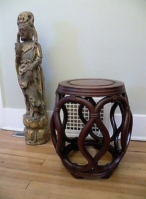 Old CHINESE Carved Rosewood Woven Drum Table Garden Stool