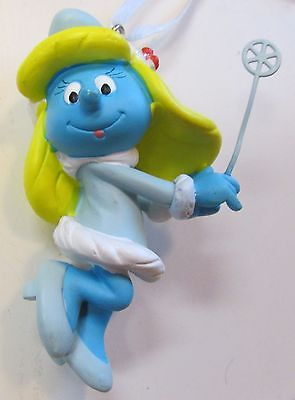 "2013 Peyo Smurfette With Wand, Christmas Ornament, Resin, 3"" Tall, Used - Vg"