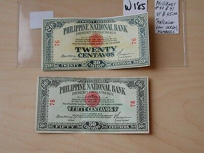 BANKNOTE PHILIPPINES 20 & 50 centavos matching LOW serial number UNUSUAL  W185