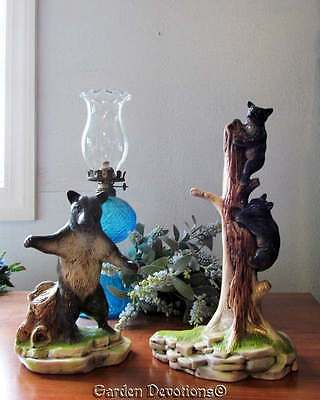 Vintage MOTHER BLACK BEAR & CUBS IN A TREE FIGURINES STATUE ~ Set of 2