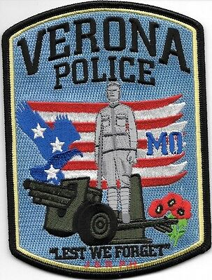 "Verona, MO ""Lest We Forget"" (4"" x 5.5"" size) shoulder police patch (fire)"