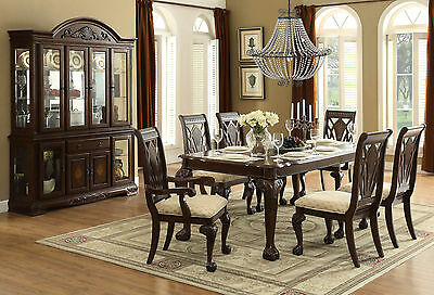 HAVANA - 7pcs Traditional Cherry Brown Rectangular Dining Room Table Chairs Set