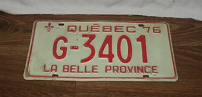 1976 Quebec License Plate #G-3401 Government Plate