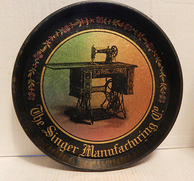 """Vintage Reproduction 12"""" Tin Tray Singer Sewing Machine Tray"""