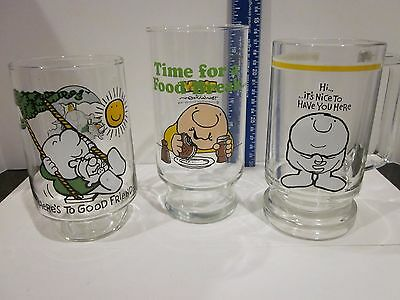 Vintage Set 3 Ziggy Collector's Glasses 1974, '77, '79 Each Different