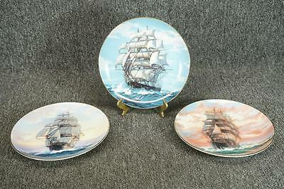 """3 W. S. George Golden Age Of The Clipper Ships Collector Plates 8 1/2"""" C. 1989"""