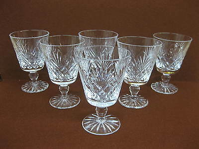 6 Royal Doulton Crystal / Cut Glass Wine / Hock Glasses ~ Juno ~ Knopped Stem