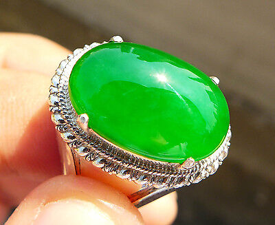 100% Natural Untreated Deep Green Jadeite Jade Type A 10 cts Cabochon Ring