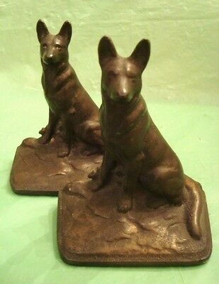 Old GERMAN SHEPHERD DOG SOLID CAST IRON BOOK ENDS Guard Dog HEAVY 5.5 lbs POLICE