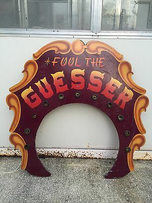 Vintage Fair Carnival Circus Fool Guesser Sign Game Sideshow Ringling Sarasota