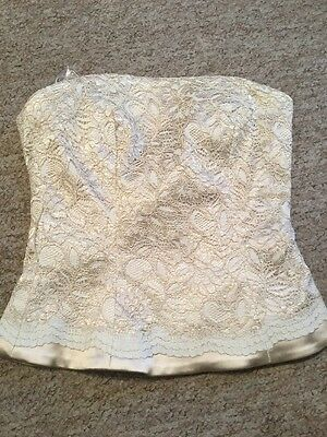 Vintage Wedding Prom Coast Gold Beige Cream Lace Bustier Corset Size 8 BNWT