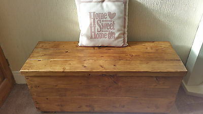 Hand Made Solid Wood Chunky Rustic Chest / Storage Box / Blanket Box / Toy Chest