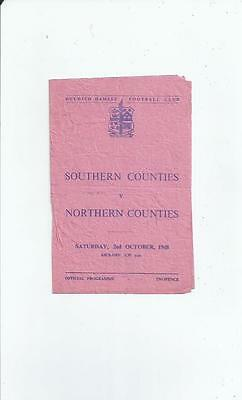 Southern Counties v Northern Counties Football Programme 1948/49 @ Dulwich