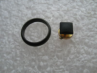 Victorian 1879 Matte Black Glass Gold filled Mourning Lapel Stud & Lucite Ring