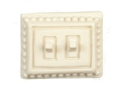Cream Double Light Switch, Dolls House Miniature, 1.12th Scale