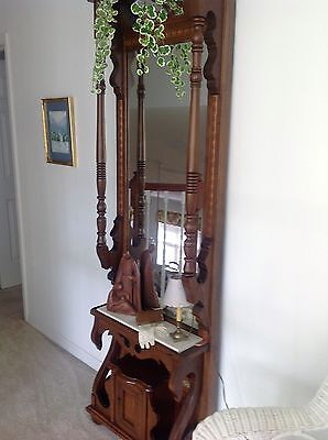 Victorian Oak Antique Pier Hall or Foyer Mirror