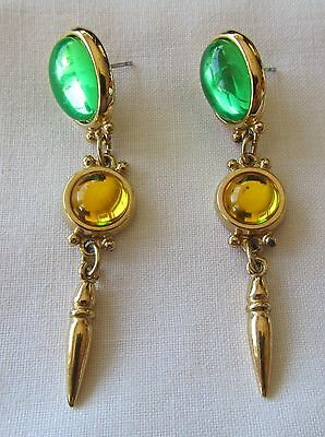 Vintage gold tone Capezio pin earrings with green lucite beads