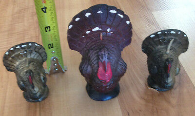 Lot of 3 Vintage Gurley Thanksgiving Turkey Candles