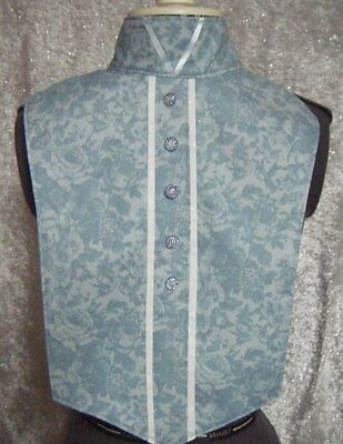 Pastel Blue Flower White on White Tone Print Reversible Dickie Bib Ratcatcher