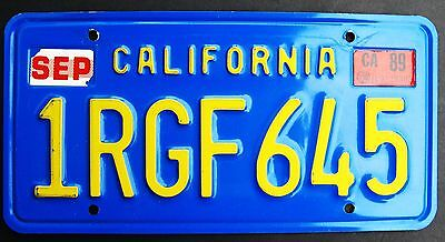 California License Plate Blue/yellow 1Rgf645 With 1989 Tag Embossed