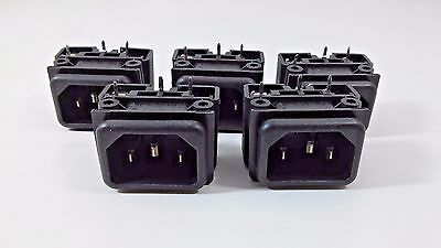 5 Power Entry Connector With Fuseholder Male Inlet 250V 16A 10A  3.15W / 2.5W