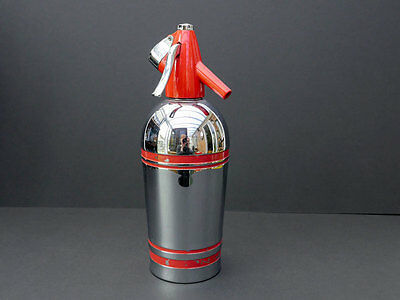 Retro Sparklets Vintage Soda Siphon in Red and Mirror Chrome Finish