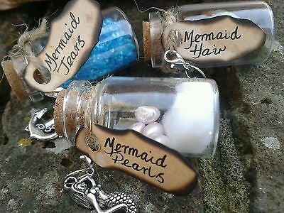 Set of 3 Mermaid Bottle Charms in Wooden Antique Style Box / Gift / Collectable
