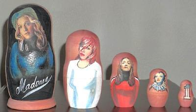 Madonna Matryoshka Nesting Dolls ~ 5 Different Hand Painted Dolls ~ Very Rare!!!