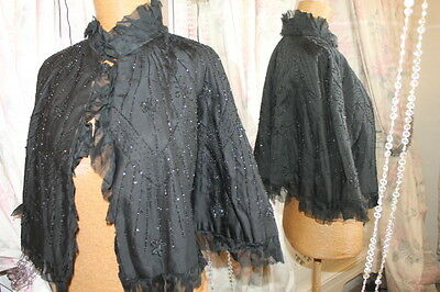 Victorian Edwardian black beaded cape - Ditsy Vintage - 12 Steampunk