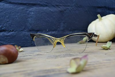 Stylish Original Vintage 1960S Ladies Cats Eye Spectacles Glasses In Case