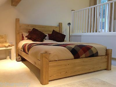 Chunky Planked Bed - Solid Wood Rustic Pine Bed