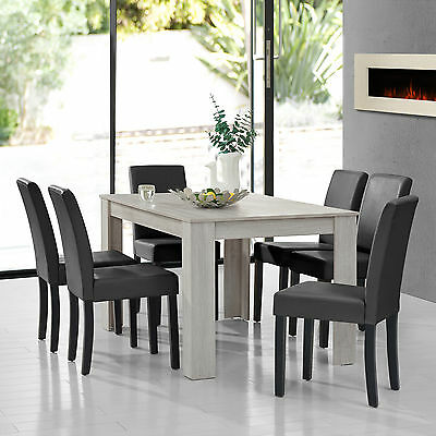 [en.casa] Dining Table Oak white with 6 Chairs dark grey [140x90] table Chairs