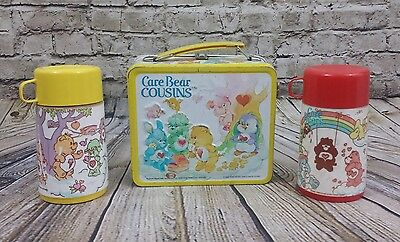 Vtg 1985 Care Bears Cousins Yellow Metal Aladdin Lunch Box & Thermos