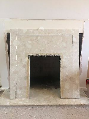 Marble fire back panel & hearth