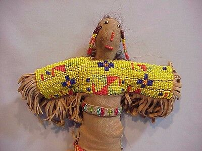 "12"" Beaded Leather Vintage Plains American Indian Doll"