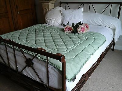 Antique JONELLE French Green Overlay Quilt Coverlet / Bedspread / Throw ~ c1960s