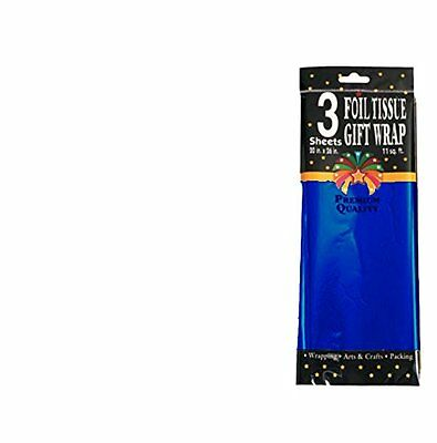 Foil Tissue Gift Wrap 3 Sheets 20in x 26in Blue Pack of 288, New