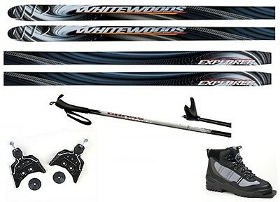 NEW EXPLORER XC cross country 75mm SKIS/BINDINGS/BOOTS/POLES PACKAGE - 160cm