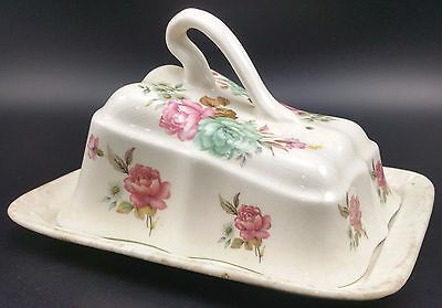 "Vintage Unmarked Cheese Dish. Floral Pattern to Lid, Base 7 1/4"" Long"