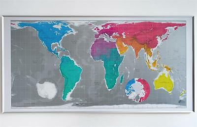 """Huge Future Mapping Cylindrical Equal Gloss Magnet World Wall Map 77.6"""" X 39.37"""""""