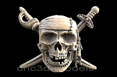 3D STL Models for CNC Router Engraver Carving Artcam Aspire Pirate Skull 174
