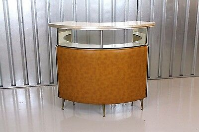 Vintage Retro Mid-Century 1950's Kitsch Curved Lounge Cocktail Bar