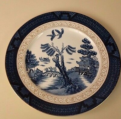 "EC Vintage Double Phoenix Blue Willow 10"" Dinner Plate Ornate Gold Rim"