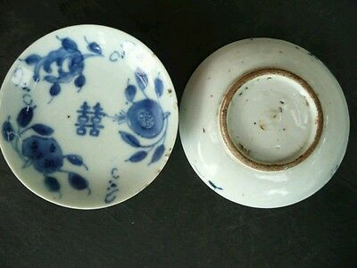 A PAIR ANTIQUE 18TH CENTURY CHINESE Blue and White SMALL PLATES