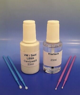 Lackstift-Set VW / Seat  LB9A / B9A Candyweiß, 20ml Basislack + 20ml Klarlack