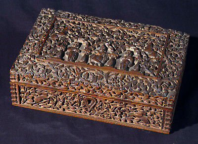 Antique finely carved Anglo-Indian sandal wood box, Mysore, South India