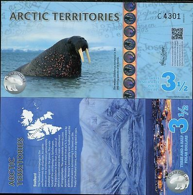 Arctic Territories 3.5 Dollars 2014 Polymer Walrus Uncirculated   Free Shipping
