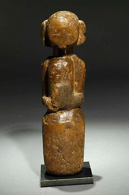Wood carving antique folk doll ethnic sculpture from Gujarat India 1910 approx