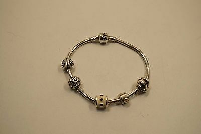 Authentic Pandora Sterling Silver Bracelet W/ 5 Charms (Ale) 33.5 Gr.  A575